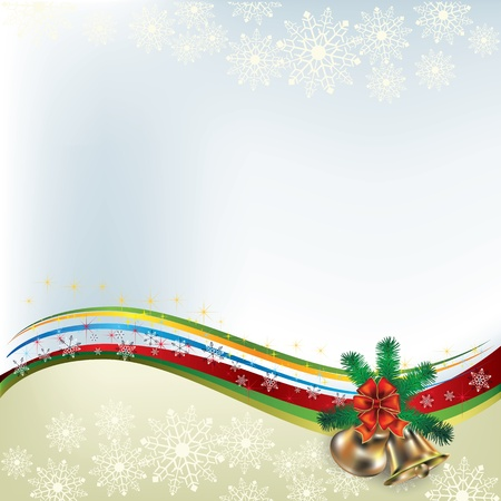 Abstract Christmas greeting with handbells and bow Vector