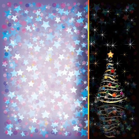 Abstract Christmas greeting with tree on black Vector