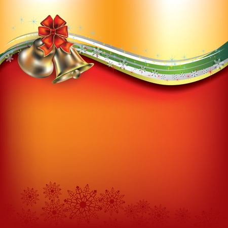 Abstract Christmas red greeting with bells and bow Vector
