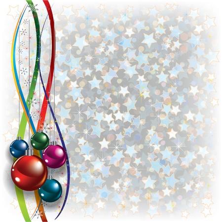 고요한 장면: 리본 장식 추상 크리스마스 흰색 배경 일러스트