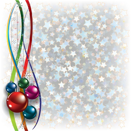 Abstract Christmas white background with ribbons and decorations Vector