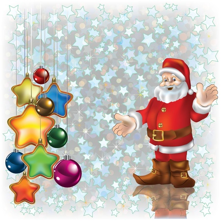 Abstract Christmas white background with Santa and decorations Illustration