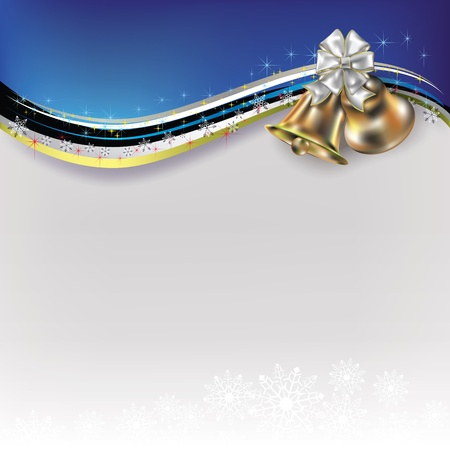 silver christmas: Abstract Christmas white blue greeting with bells and bow