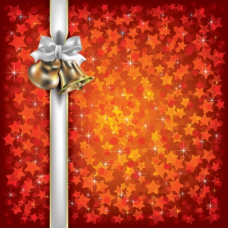 Abstract Christmas background with bells and white gift ribbons Stock Vector - 10460310