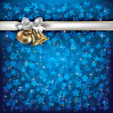Abstract Christmas blue background with bells and white gift ribbons Vector