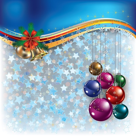 Abstract Christmas blue greeting with decorations and bells
