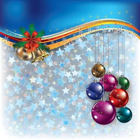 campanas: Felicitación de Navidad azul con decoraciones y campanas de Abstract