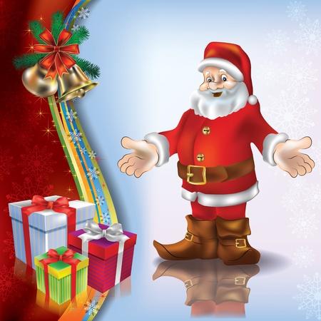 Abstract Christmas blue greeting with Santa gifts and handbells Illustration