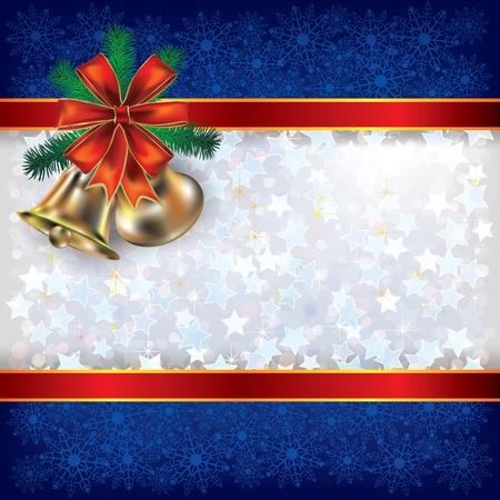 adornment: Astratto sfondo bianco Natale blu con nastri handbells e regalo