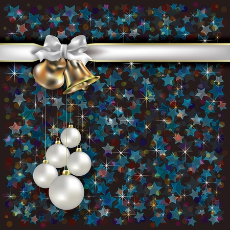 Abstract Christmas dark background with bells and white gift ribbons Vector