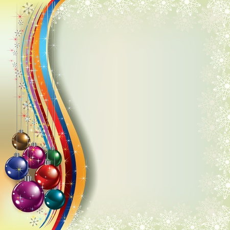christmas music: Abstract Christmas greeting with decorations on beige