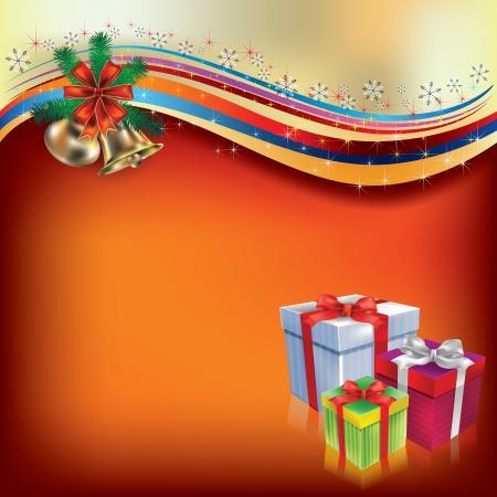 Abstracte Christmas greeting met giften en klokken