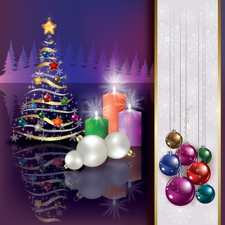 Abstract Christmas background with tree and candles on dark