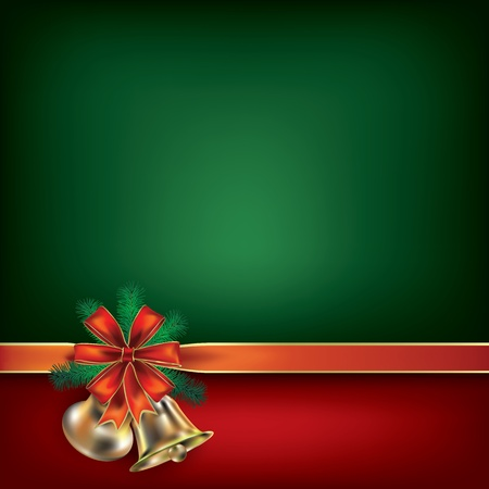 Abstract Christmas green greeting with gift ribbons Stock Vector - 10490098