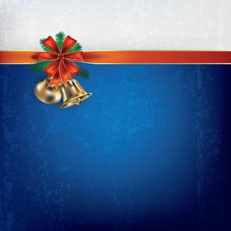 Abstract Christmas greeting with handbells and gift ribbons Vector