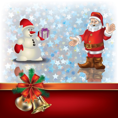 Abstract Christmas greeting with Santa Claus and gift ribbons Vector