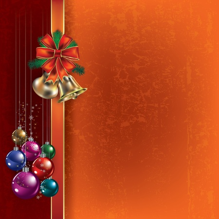 Abstract Christmas orange greeting with handbells and decorations Vector
