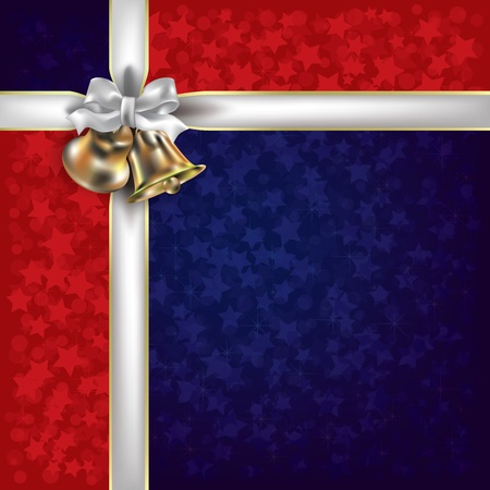 Abstract Christmas red blue greeting with white gift ribbons Vector