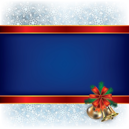 Abstract Christmas blue background with handbells and gift ribbons Vector