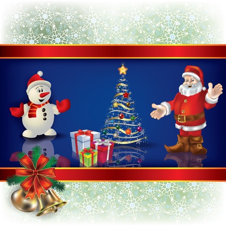 Abstract Christmas blue background with Santa snowman and gifts Vector