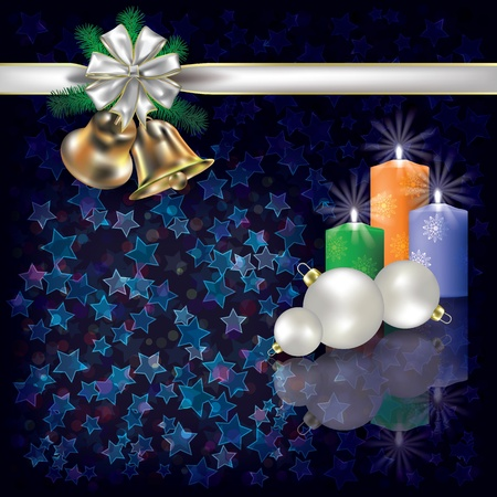 Abstract Christmas dark greeting with candles and white gift ribbons Vector