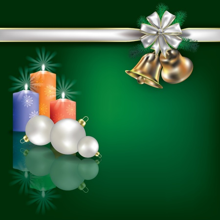 Abstract Christmas green greeting with candles and white gift ribbons Stock Vector - 10502754