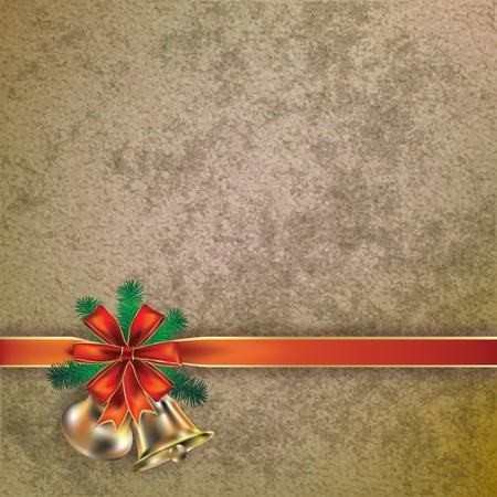 decoration messy: Abstract Christmas greeting with handbells on grunge background Illustration