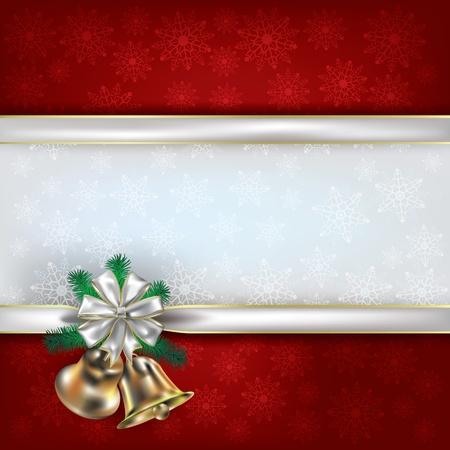 music banner: Abstract Kerst rode achtergrond met handbells en witte linten geschenk Stock Illustratie