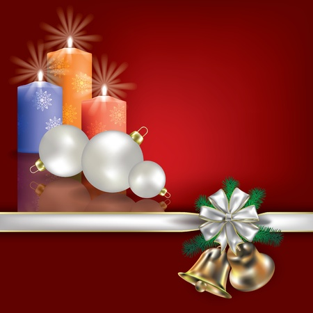 Abstract Christmas red greeting with candles and white gift ribbons Vector