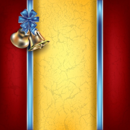 church bell: Abstract Christmas background with blue ribbons and bells