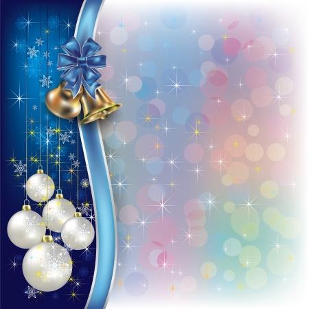 noel argent�: R�sum� de No�l de fond avec des d�corations et des cloches Illustration
