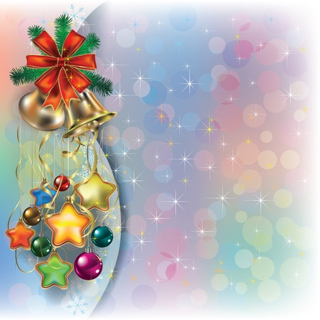 Abstract Christmas background with decorations and ribbons Vector