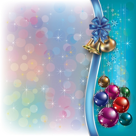Abstract Christmas background with decorations bow and bells Vector