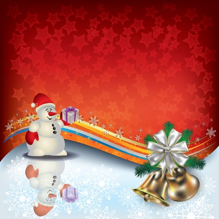 Abstract Christmas background with Snowman and gifts Stock Vector - 10511658
