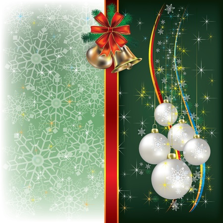 Abstract Christmas green background with decorations and bells Stock Vector - 10511661