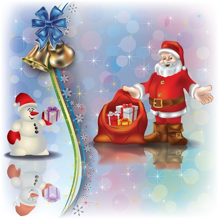 Abstract Christmas greeting with Santa Claus snowman and gifts Vector