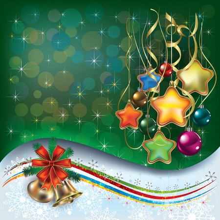 Abstract Christmas greeting with decorations and bells Vector