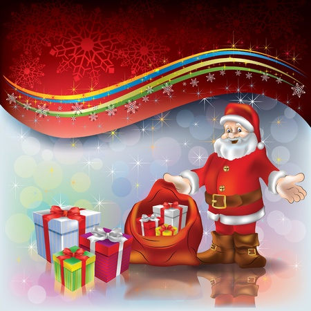 Abstract Christmas greeting with Santa Claus and gifts Illustration