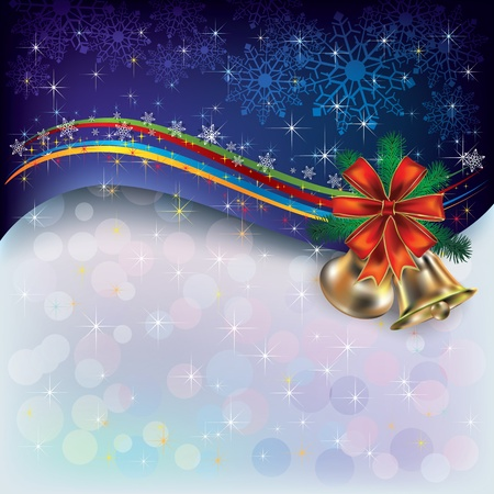 Abstract Christmas greeting with snowflakes and bells