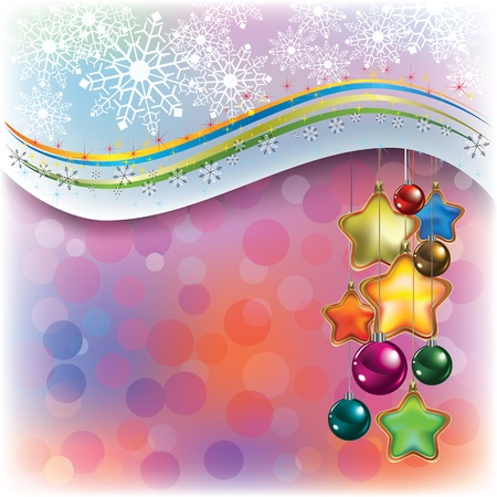 Abstract Christmas greeting with snowflakes and decorations Illustration