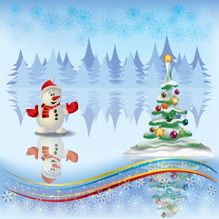 Abstract Christmas greeting with tree and snowman on light background Vector