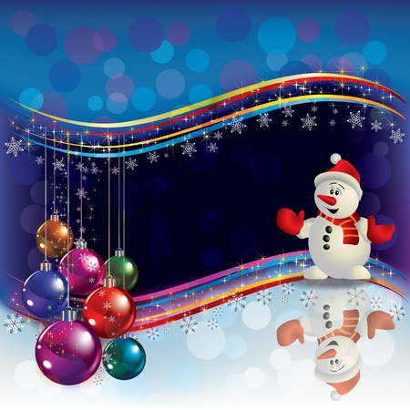 Abstract Christmas background with decorations and Snowman Vector