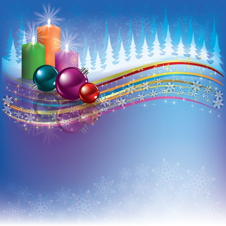 Abstract Christmas background with decorations and candles