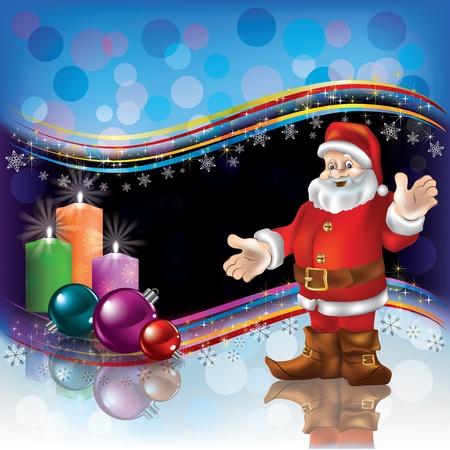 Abstract Christmas background with Santa decorations and candles Vector