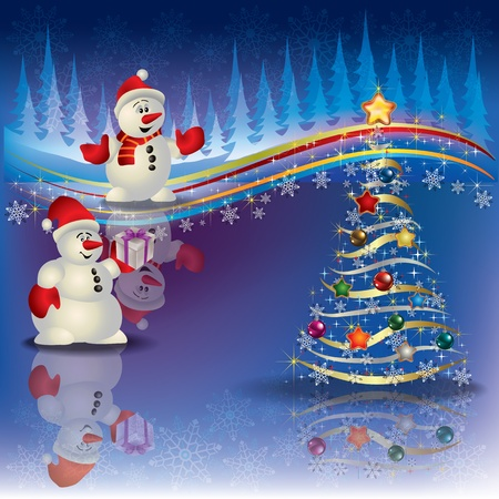crimson colour: Abstract Christmas background with snowmen and tree Illustration