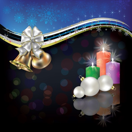 adornment: Abstract Christmas black blue greeting with bells and candles