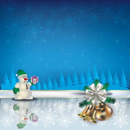 Abstract Christmas blue greeting with snowman and bells Vector