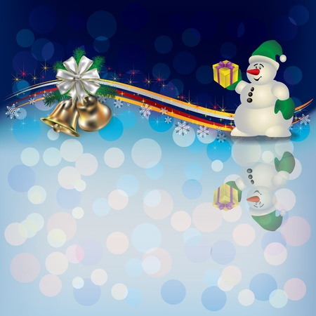 Abstract Christmas background with snowman and bells Vector