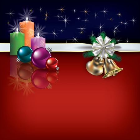 Abstract Christmas greeting with gift ribbon and candles Vector