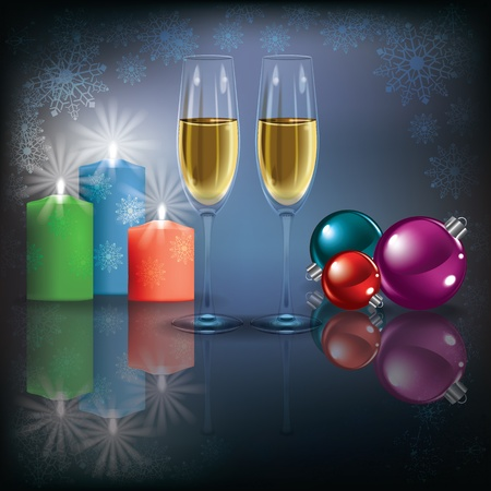 Abstract Christmas dark greeting with champagne and candles Vector
